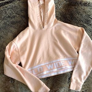 F21 Athletic Logo Cropped Hoodie - Light Peach S